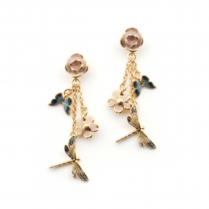Butterfly & Dragonfly Charm Earrings - Gold