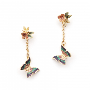 Multi Butterfly Floral Drop Earring - Gold