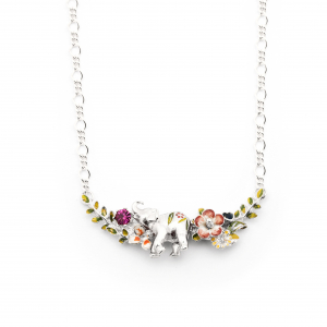 Elephant Floral Statement Necklace - Rhodium
