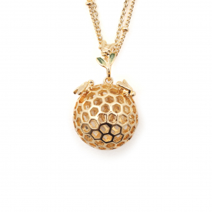 Small Bee & Honeycomb Orb with Floral Pendant - Gold