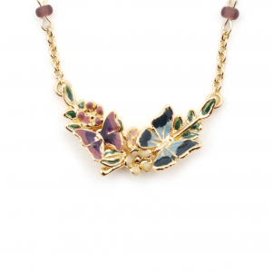 Butterfly Floral Pendant - Gold