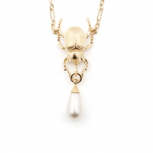 Statement Beetle Necklace - Pearl