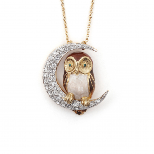 Owl & Moon Pendant Brown