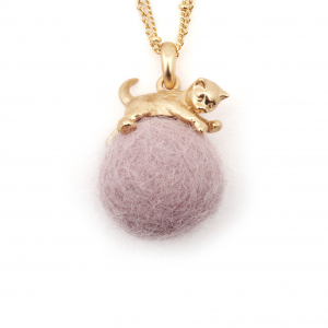 Kitten with Wool Ball Pendant (Lilac) Gold