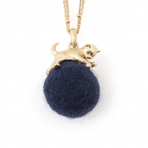 Kitten with Wool Ball Pendant (Navy) Gold