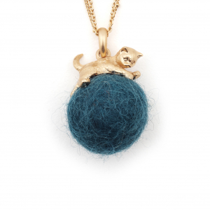 Kitten with Wool Ball Pendant (Teal) Gold