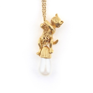 Kitten & Tear Drop Pearl Pendant