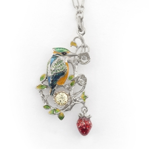 Kingfisher Short Pendant (Rhodium)