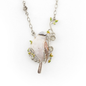 Sparrow Long Pendant (Rhodium)