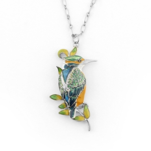 Kingfisher Long Pendant (Rhodium)