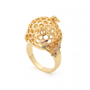 Bee & Honeycomb Floral Orb Ring - Gold