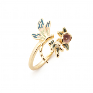 Floral Dragonfly Open Ring - Gold