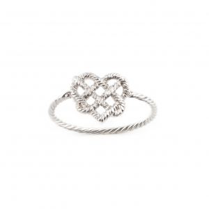 SILVER KNOTTED HEART RING