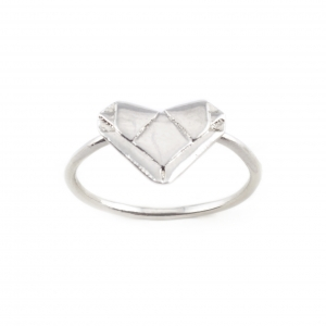 SILVER ORIGAMI HEART RING