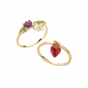 Wild Strawberry Stacking Rings - Gold