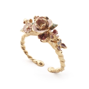 Mini Vintage Rose Open Ring