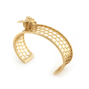 Bee & Honeycomb Cuff - Gold