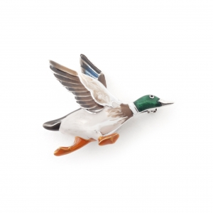 Flying Mallard Duck Brooch