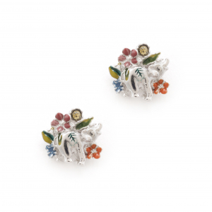 Elephant Floral Earrings - Rhodium