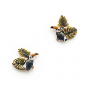 Tropical Toucan Leaf Studs - Gold