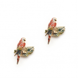 Tropical Parrot Leaf Studs - Gold