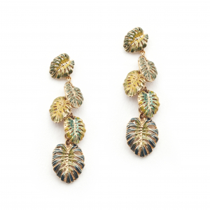 Tropical Leaf Charm Earrings - Gold
