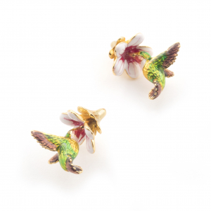 Hummingbird & Trumpeting Flower Stud