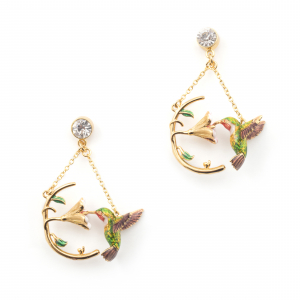 Hummingbird Crescent Hoop Drop Earring