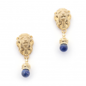 Lion Crown Drop Earrings - Lapis