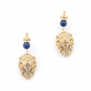 Lion Through Earrings - Lapis