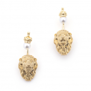 Lion Through Earrings - Pearl