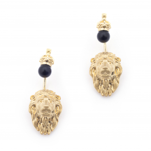 Lion Through Earrings - Onyx