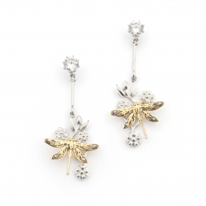 Dragonfly Floral Drop Earring