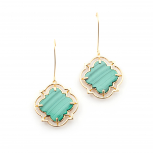 Statement Filigree Earrings - Malachite