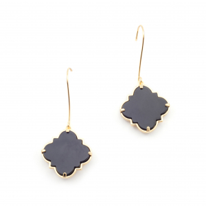 Filigree Morocco Drop Earrings - Onyx