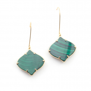 Arabesque Filigree Earrings - Malachite