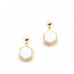 Filigree Hexagon Studs - Mother of Pearl