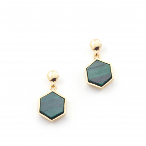 Filigree Hexagon Studs - Malachite