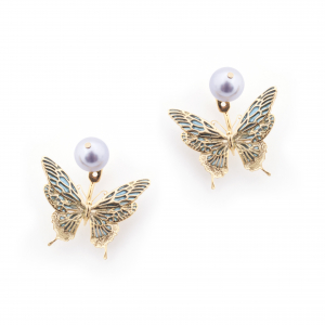 Butterfly & Pearl Through Earring