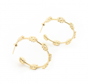 Daisy Hoop Earrings - Gold