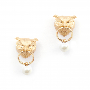 Owl Drop Earrings - Gold