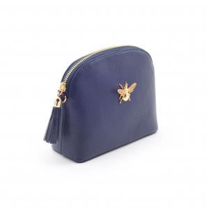 Queen Bee Leather Handbag - Navy