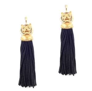 GOLD TIGER TASSEL EARRINGS