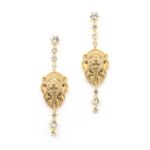 Lion Statement Crystal Drop Earrings