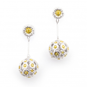Daisy & Ball Drop Earrings - Rhodium