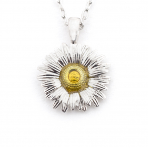 Mini Daisy Pendant - Rhodium