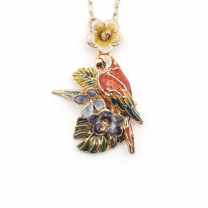 Tropical Parrot Flower Pendant - Gold
