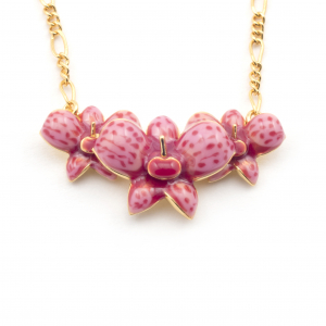 Triple Row Orchid Necklace