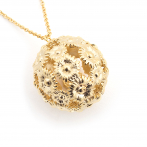 Daisy Floral Ball Pendant - Gold