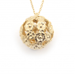 Daisy Floral Mini Ball Pendant - Gold